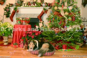 2008--Christmas Decoration Room with Sheltie Dog-by AYAKO