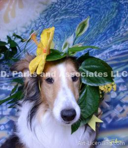8550-Yellow Hibiscus on Bebe Sheltie Dog-by AYAKO