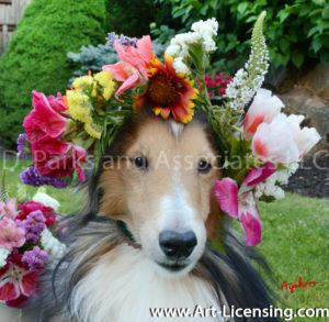 8730-Spring Flower Crown on Bill Dog-by Ayako