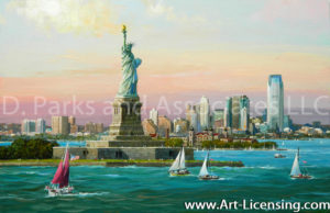 New York-Statue of Liberty Jersey City Skyline-by Alexander Chen