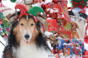 4940S-Sheltie Dog with Christmas Present