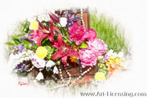 0003SRH-Peony Lily Flowers Bouquet in Treasure Box