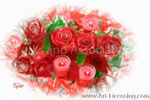 0003SRH-Valentine Red Roses and Candles
