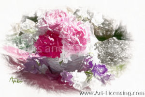 0209SRH-Pink Peonies and Bellflowers Bouquet