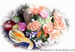 0540SRHR-Roses, Garbella and Pumpkin