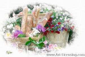 0801SRH-Picnic Flowers and Bread in Basket