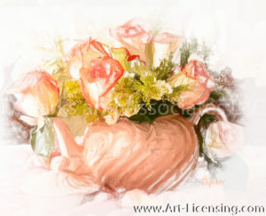1283SRH-Pink Roses Bouquet in Teapot