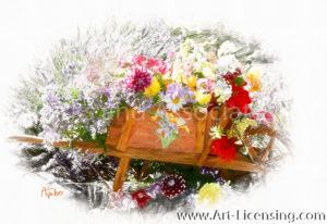 1464SRH-Dahlia and Summer Flowers on Wheelbarrw