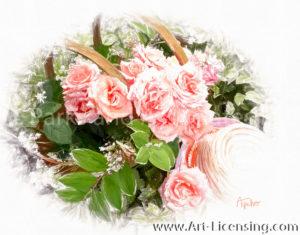 1874SRH-Pink Roses Basket