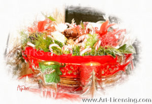 1882SRH-Red and Green Candles with Christmas Flower Basket
