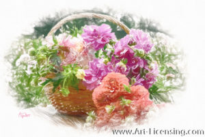 1950SRH-Dahlia Bouquet in Basket