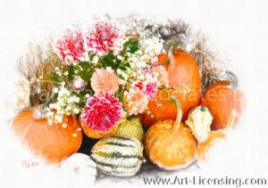 2250SRH-Dahlia Bouquet and Pumpkins