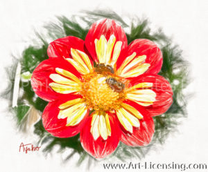 2511SRH-Bees on Red Dahlia