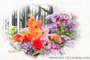 2523SRH-Gladiolus and Hydrangea Bouquet