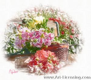 2550SRH-Dahlia Bouquets and Basket