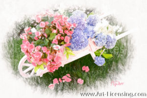 2667SRH-Pink Begonia and Purple Hydrangea in Pink Wheelbarrow