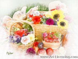 2795SRH-Dahlia-Sunflower-Strawberry-Baskets-Straw Hat Picnic setting