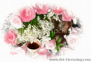 2936SRH-Pink Roses, White Pieris and Teacup