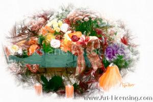 3234SRH-Mums Pumpkins Candles, Green Wagon-Autumn setting