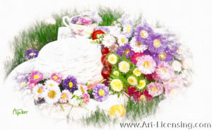 3409SRH-Aster Bouquet, Straw Hat and Teacup