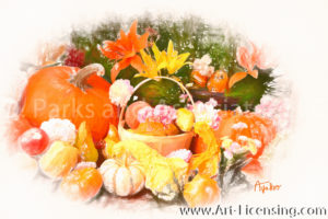 3468SRH-Pumpkins and Lilies in Autumn