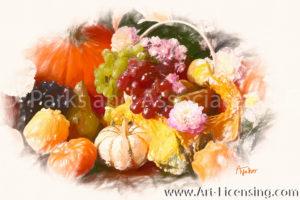 3530SRH-Pumpkins, Grapes and Dahlia Basket