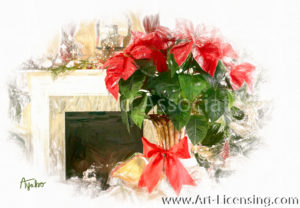 4191SRH-Red Poinsettia, Fireplace, Christmas Decoration
