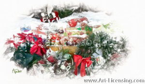4284SRH-Christmas Present, Poinsettia, Basket, Wreaths in Snow