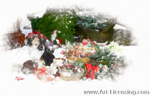 4364SRH-Christmas Present, Poinsettia, Basket, Wreaths and Dog in Snow