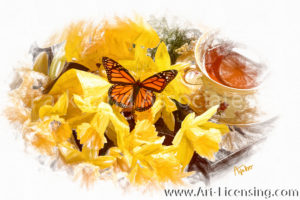 4465SRH-Yellow Daffodil, Tea cup and Butterfly