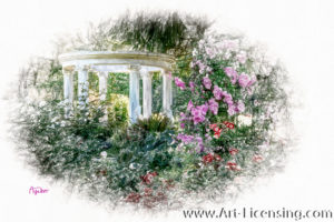 4507SRH-HDR-White Gazebo in Rose Garden