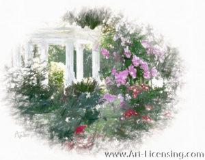 4507SRH-White Gazebo in Rose Garden