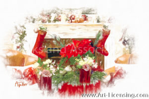 4764SRH-Christmas Room, Poinsettia, Roses front of the Firerplace