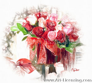4932SRH-Christmas Red and Pink Roses Arrangement