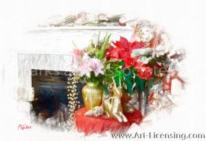 5058SRH-Christmas Poinsettia, Lilies Arrangement