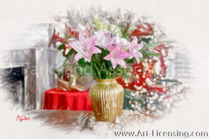 5098SRH-Pink Lilies Bouquet in Christmas Room