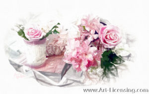 6887SRH-Pink Roses and Alstroemeria