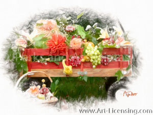 7025SRH-Dahlia, Pumpkins, Grape in Red Wagon