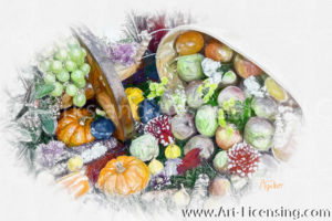 7167SRH-Dahlia, Apples, Pumpkins, Grape, Plums, Harvest time