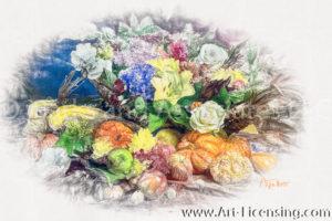 7379SRH-Pumpkins, Apples, Lily, Rose, Hydrangea, Apples, Pumpkins, Autumn arrangement