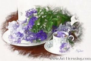 7825SRH- Purple Iris and Teacup