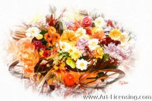 7847SRH-Pumpkins and Autumn Flowers on Wood Wagon