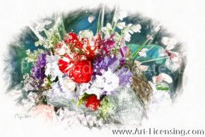 7927RSRH-Roses, Iris,Campannula, Foxglove, Coral Bells, Queen Anns Lace Bouquet