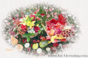 7935SRH-Colored Leaves, Lilies, Mums and Pumpkins in Basket
