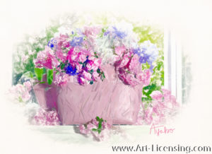 7964SRH-Pink and White Azalea and Iris in Pink Bag