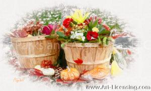 7972SRH- Pumpkins, Roses, Mums, Harvest Flower Basket