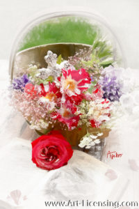 7977SRH-Roses, Campannula Bouquet and Cross