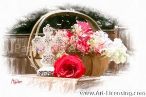 8037SRH-Roses,Campannula Basket and Cross