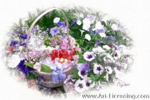 8197SRH-Petunia and Spring Flower Basket