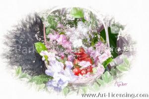 8235SRH-Iris and Spring Flower Basket